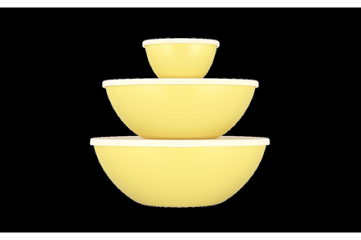 Conjunto 3 Peças C/ Tampa Essencial 29,8x28,5x10,7cm 29,8x28,5x10,7cm Amarelo Soft Coza