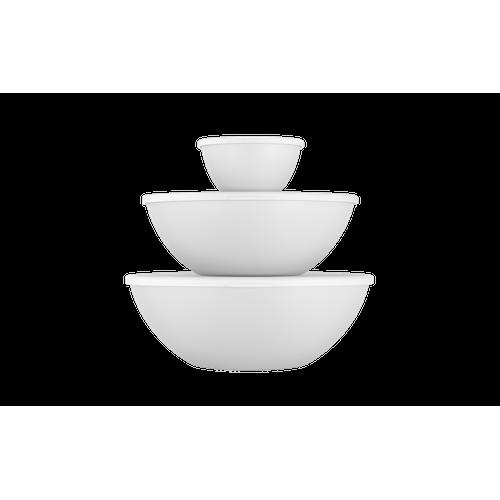 Conjunto 3 Peças C/ Tampa Essencial 29,8x28,5x10,7cm 29,8x28,5x10,7cm Branco Coza