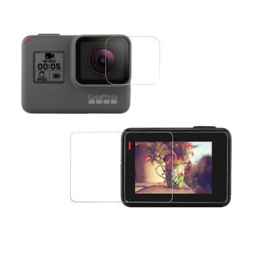 Conjunto Películas de Vidro Lente e Tela LCD Câmera GoPro Hero 5 Black e Hero 6 Black
