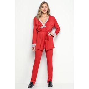 Conjunto Pijama com Renda e Cardigan - Maça do Amor G