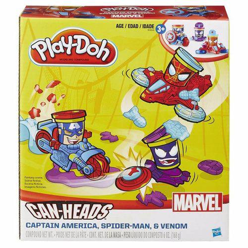 Conjunto Play-doh Veiculos Marvel Can Heads Hasbro B0606
