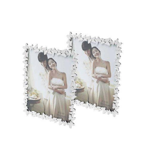 Conjunto 2 Porta-retratos Butterfly Brancos - 15x20 Cm - Prestige