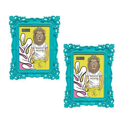 Conjunto Porta-retratos - 2 Peças - 13x18 Cm - Pop Deco Az