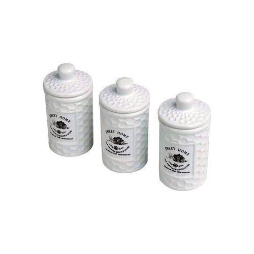 Conjunto 3 Potes com Tampa Porcelana Sweet Home 11cm Lyor