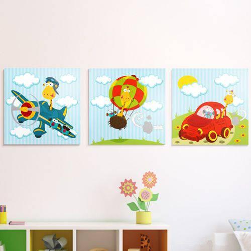 Conjunto Quadro Decorativo Infantil Canvas Girafas