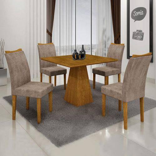 Conjunto Sala de Janta Mesa Quadrada Itália 4 Cadeiras Pampulha Leifer Imbuia Mel/Imbuia