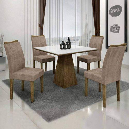Conjunto Sala de Janta Mesa Quadrada Tampo Branco 4 Cadeiras Pampulha Leifer Ype/Branco/Capuccino