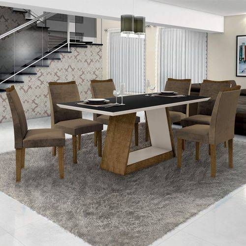 Conjunto Sala de Janta Mesa Tampo Preto 6 Cadeiras Pampulha Leifer Ype/Preto/Capuccino
