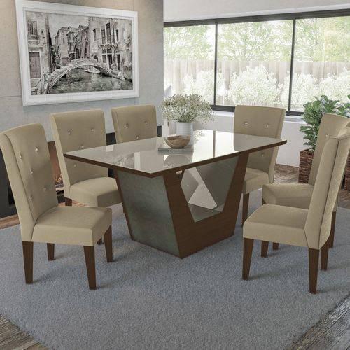Conjunto Sala de Jantar com Mesa e 6 Cadeiras Estofadas Kappesberg Walnut
