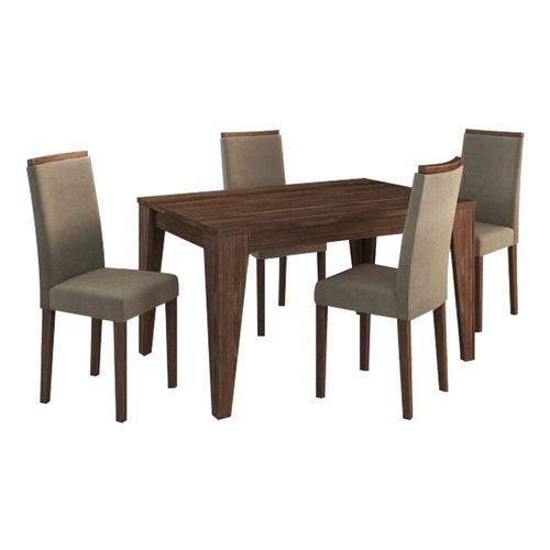 Conjunto Sala de Jantar Mesa 4 Cadeiras Suede Graveto Nogal - Tecno Mobile