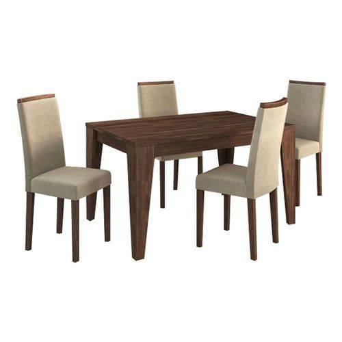 Conjunto Sala de Jantar Mesa 4 Cadeiras Suede Vanilha Nogal - Tecno Mobile