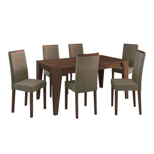Conjunto Sala de Jantar Mesa 6 Cadeiras Suede Graveto Nogal - Tecno Mobile