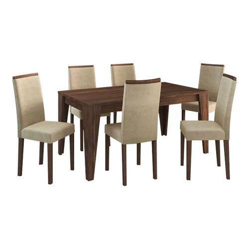 Conjunto Sala de Jantar Mesa 6 Cadeiras Suede Vanilha Nogal - Tecno Mobile