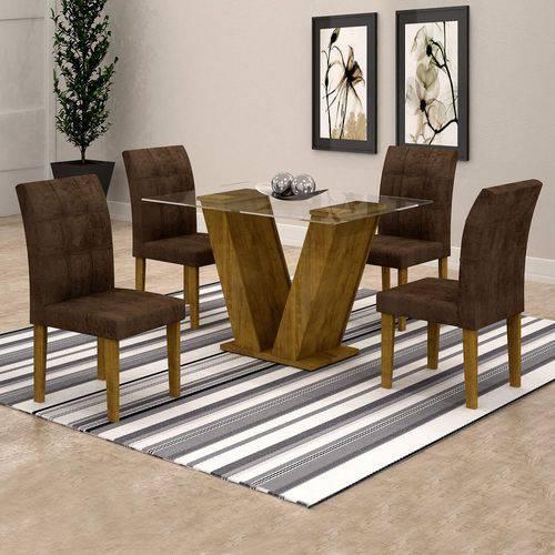 Conjunto Sala de Jantar Mesa Classic Tampo de Vidro 4 Cadeiras Vitória Cel Móveis Ypê/Animale