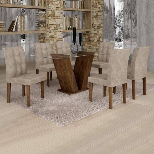 Conjunto Sala de Jantar Mesa Classic Tampo de Vidro 6 Cadeiras Vitória Cel Móveis Chocolate/Pena