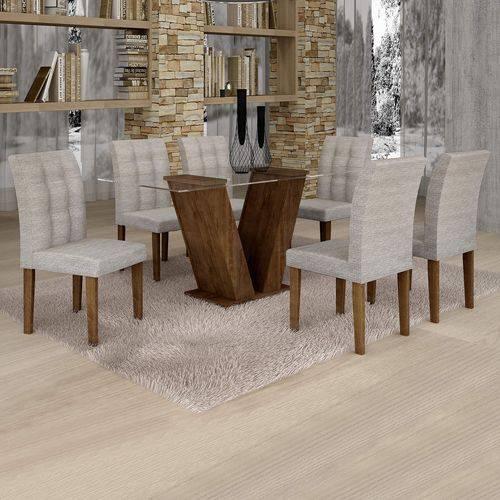 Conjunto Sala de Jantar Mesa Classic Tampo de Vidro 6 Cadeiras Vitória Cel Móveis Chocolate/Suede