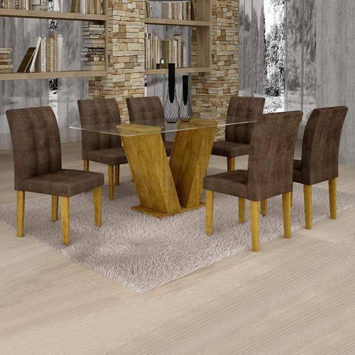 Conjunto Sala de Jantar Mesa Classic Tampo de Vidro 6 Cadeiras Vitória Cel Móveis Ypê/Animale