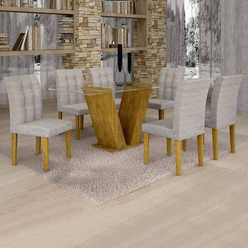 Conjunto Sala de Jantar Mesa Classic Tampo de Vidro 6 Cadeiras Vitória Cel Móveis Ypê/Suede