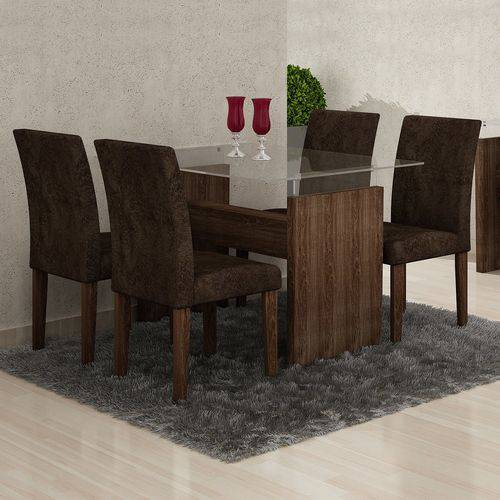 Conjunto Sala de Jantar Mesa Evidence 4 Cadeiras Classic Cel Móveis Malbec/ Suede Pena 83