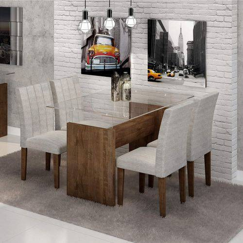 Conjunto Sala de Jantar Mesa Evidence Tampo de Vidro 4 Cadeiras Miami Cel Móveis Chocolate/Suede