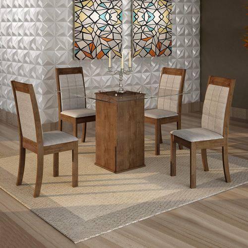 Conjunto Sala de Jantar Mesa Havana Tampo de Vidro 4 Cadeiras Rubi Cel Móveis Chocolate/Suede