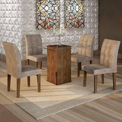 Conjunto Sala de Jantar Mesa Havana Tampo de Vidro 4 Cadeiras Vitória Cel Móveis Chocolate/Pena