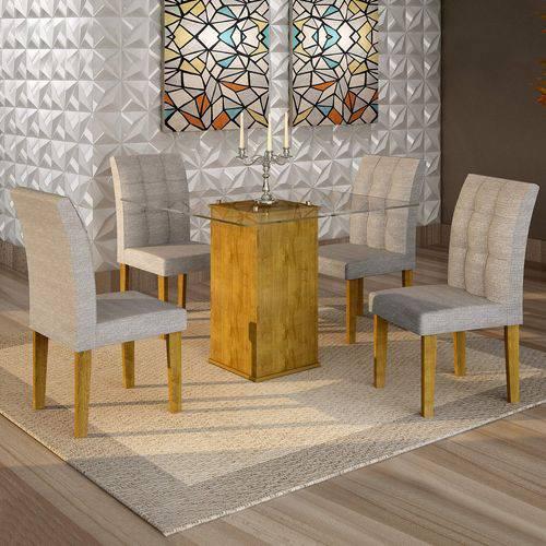 Conjunto Sala de Jantar Mesa Havana Tampo de Vidro 4 Cadeiras Vitória Cel Móveis Ypê/Suede Cinza