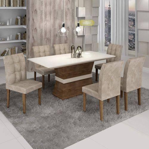 Conjunto Sala de Jantar Mesa Jade Tampo de Vidro 6 Cadeiras Vitória Cel Móveis Chocolate /Pena 84