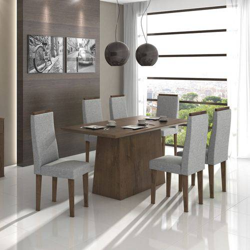 Conjunto Sala de Jantar Mesa Nevada 6 Cadeiras Dafne Móveis Lópas Imbuia Soft/Rinzai Cinza
