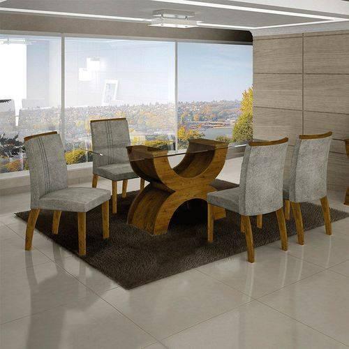 Conjunto Sala de Jantar Mesa Olímpia 120cm 4 Cadeiras Alemanha Creta Canela - Leifer