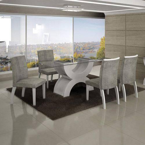 Conjunto Sala de Jantar Mesa Olímpia 120cm 4 Cadeiras Alemanha Creta Leifer Branco/Africa Rato
