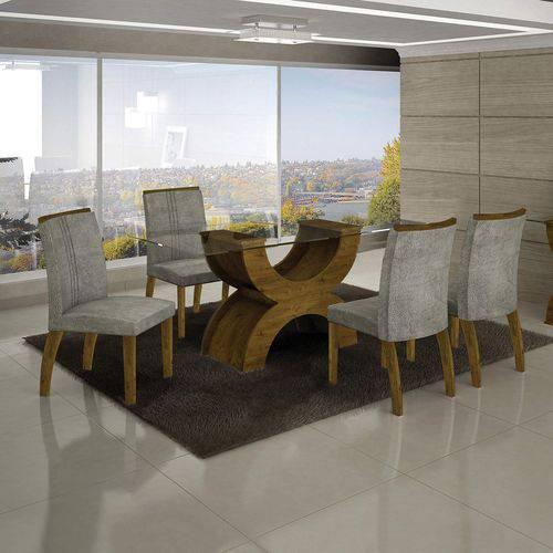 Conjunto Sala de Jantar Mesa Olímpia 120cm 4 Cadeiras Alemanha Creta Leifer Canela/Africa Rato