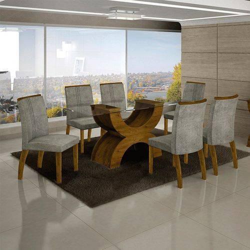 Conjunto Sala de Jantar Mesa Olímpia Tampo de Vidro 6 Cadeiras Alemanha Canela - Leifer