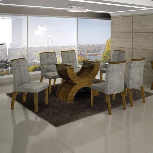Conjunto Sala de Jantar Mesa Olímpia Tampo de Vidro 6 Cadeiras Alemanha Leifer Canela/Africa Rato