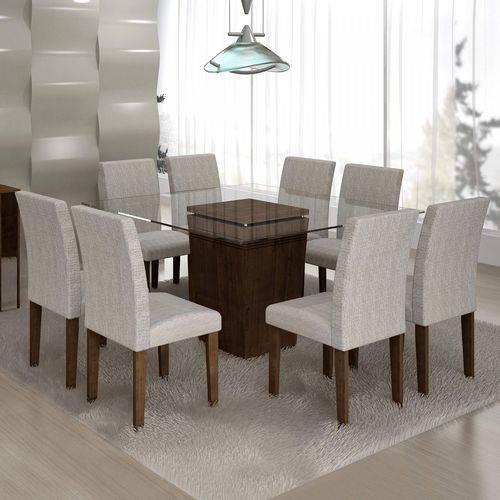 Conjunto Sala de Jantar Mesa Ômega Tampo de Vidro 8 Cadeiras Classic Cel Móveis Chocolate/Suede