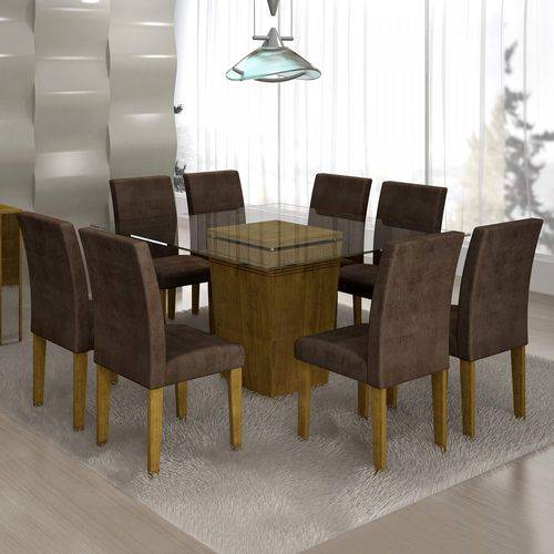 Conjunto Sala de Jantar Mesa Ômega Tampo de Vidro 8 Cadeiras Classic Cel Móveis Ypê/Animale