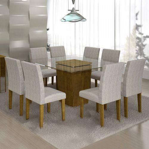 Conjunto Sala de Jantar Mesa Ômega Tampo de Vidro 8 Cadeiras Classic Cel Móveis Ypê/Suede Cinza