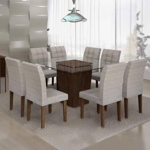 Conjunto Sala de Jantar Mesa Ômega Tampo de Vidro 8 Cadeiras Vitória Cel Móveis Chocolate/Suede