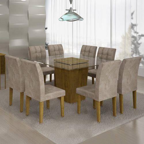 Conjunto Sala de Jantar Mesa Ômega Tampo de Vidro 8 Cadeiras Vitória Cel Móveis Ypê/Pena 84