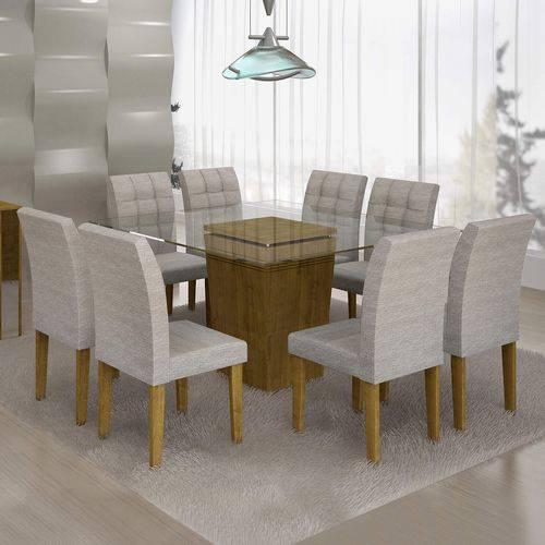 Conjunto Sala de Jantar Mesa Ômega Tampo de Vidro 8 Cadeiras Vitória Cel Móveis Ypê/Suede Cinza