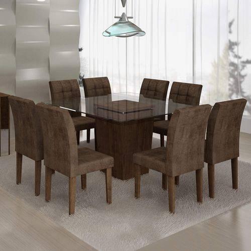 Conjunto Sala de Jantar Mesa Ômega Tampo de Vidro 8 Cadeiras Vitória Cel Móveis