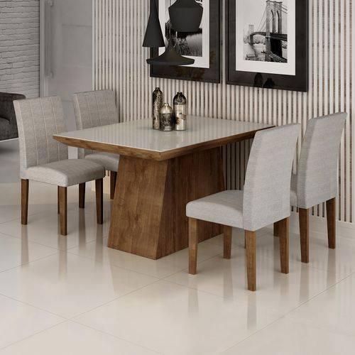 Conjunto Sala de Jantar Mesa Sevilha I Tampo de Vidro 4 Cadeiras Miami Cel Móveis Chocolate/Suede