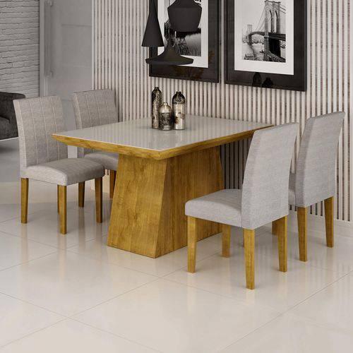 Conjunto Sala de Jantar Mesa Sevilha I Tampo de Vidro 4 Cadeiras Miami Cel Móveis Ypê/Suede Cinza