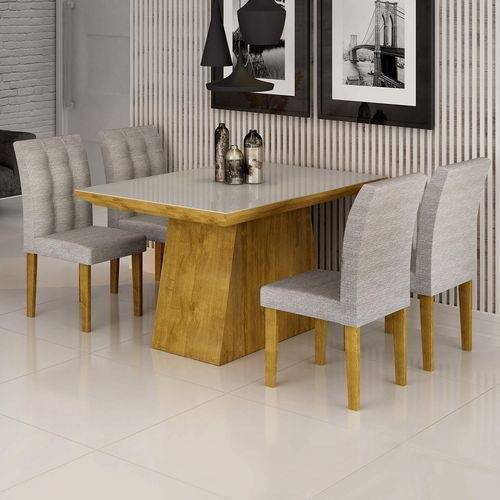 Conjunto Sala de Jantar Mesa Sevilha I Tampo de Vidro 4 Cadeiras Vitoria Cel Móveis Ypê/Suede