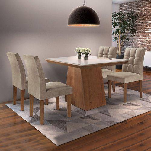 Conjunto Sala de Jantar Mesa Sevilha I Tampo de Vidro 4 Cadeiras Vitoria Cel Móveis