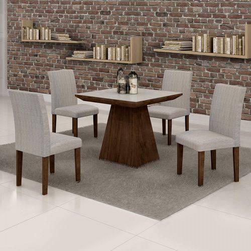 Conjunto Sala de Jantar Mesa Sevilha Tampo de Vidro 4 Cadeiras Classic Cel Móveis Chocolate/Suede