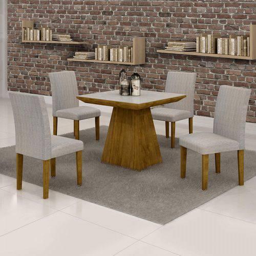 Conjunto Sala de Jantar Mesa Sevilha Tampo de Vidro 4 Cadeiras Classic Cel Móveis Ypê/Suede Cinza