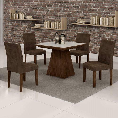 Conjunto Sala de Jantar Mesa Sevilha Tampo de Vidro 4 Cadeiras Classic Cel Móveis