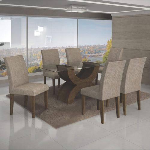 Conjunto Sala de Jantar Mesa Tampo de Vidro 160cm e 6 Cadeiras Olímpia Leifer Ypê/Veludo Caramelo