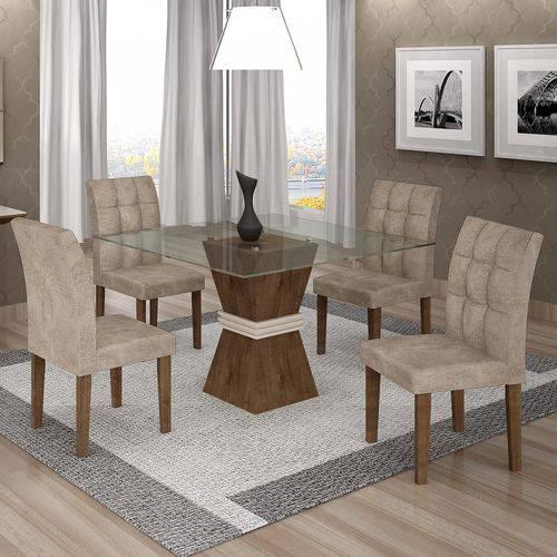 Conjunto Sala de Jantar Mesa Tampo de Vidro 4 Cadeiras Vitória Cel Móveis Chocolate/Off